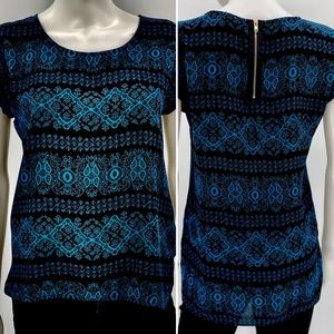 PINK REPUBLIC-Size S-Black+Blue Zipper Back Blouse